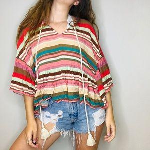 Boston proper boho flowy peasant blouse